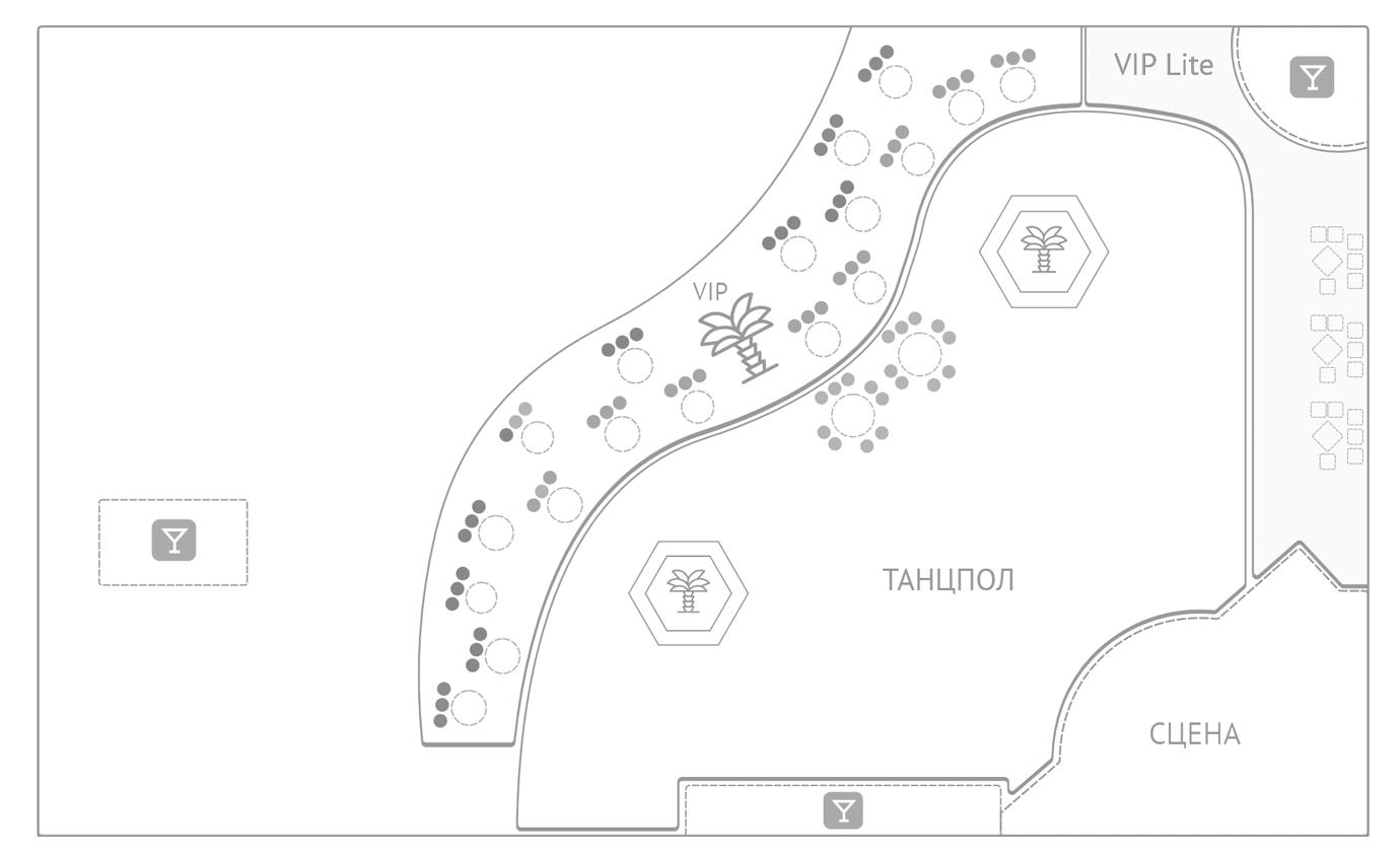 Схема зала клуба Gipsy